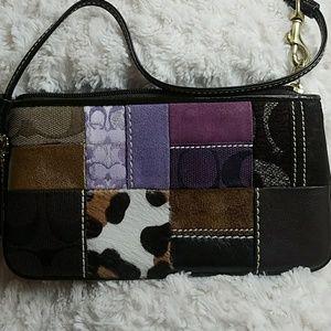 Coach-Purple, Animal Print, Brown Patched Wristlet